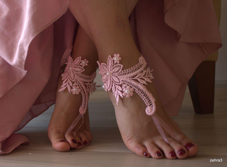 Bridal Barefoot,Barefoot Sandals, Beach Wedding Lace sandals, Bridal shoes, Pinklace sandals, Wedding anklet,Barefoot Sanda lWeddingPink