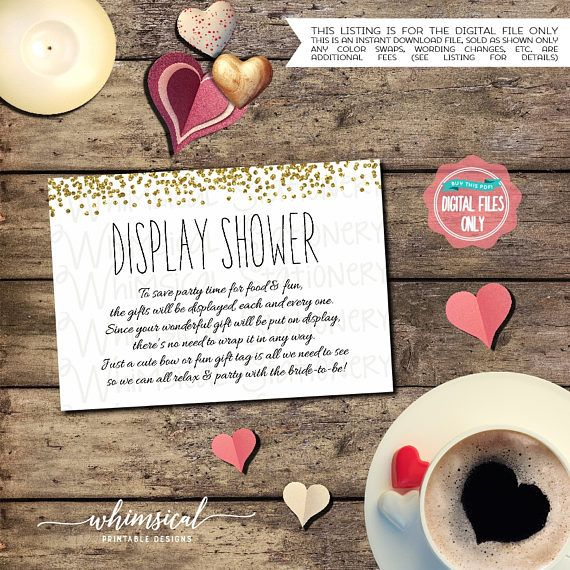 Display Baby Shower: Confetti, Gold ♥ Invite Your Guests