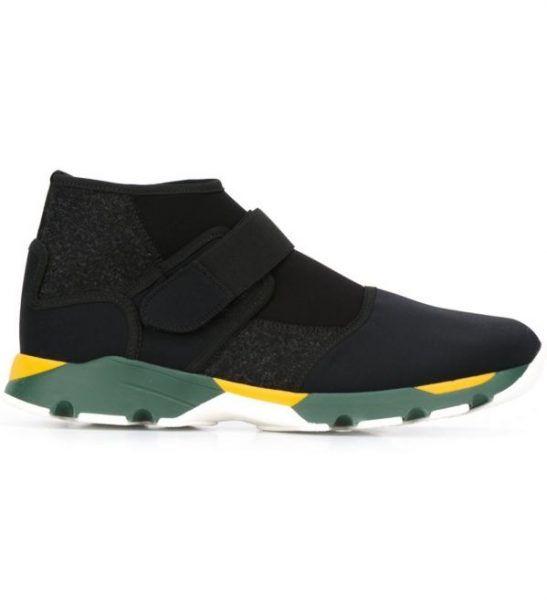 MARNI – Sneakers nere alte con suola verde e gialla da uomo 1