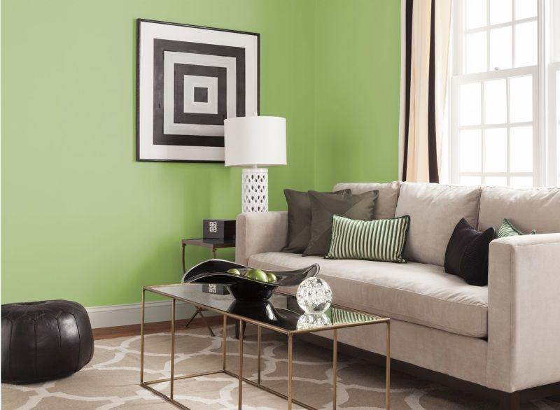 Wandfarben Wohnzimmer Grasgruen Beige
