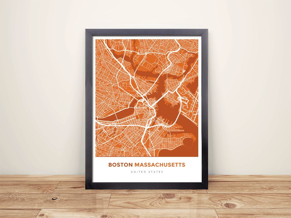 Houston Map Framed%0A Framed Map Poster of Boston Massachusetts  Simple Burnt  Boston Map Art