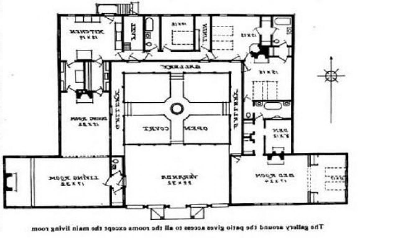 Spanish Interior Courtyard House Plans Interior Bungalow