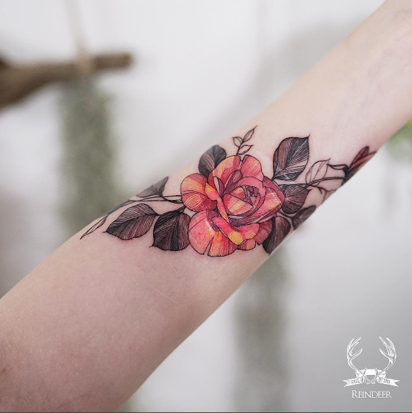 Gorgeous linework rose by Zihwa