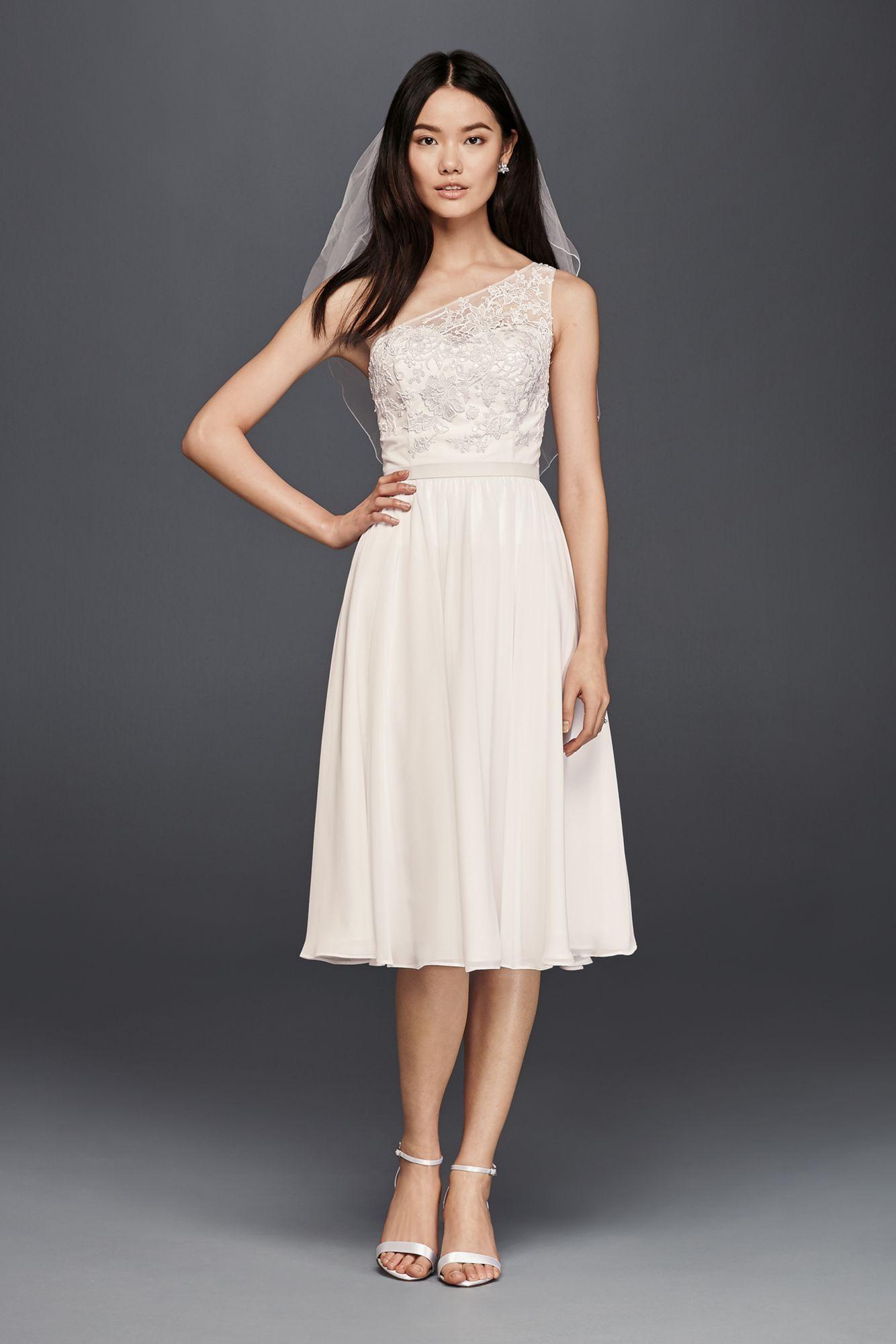 Elegant One Shoulder Knee Length SDWG0427 Style Bridal