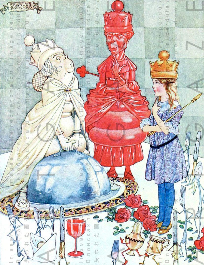 Queen ALICE & Royal Chess Pieces Digital Alice in Wonderland Illustration Rare Deco Edition Vintage Printable