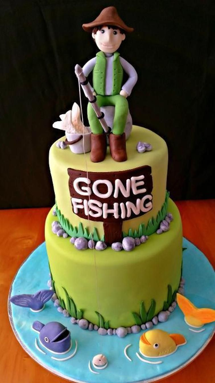 Fishing themed cake craftsy company party pinterest for Fishing cake ideas