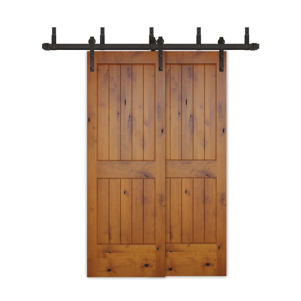Pacific Entries 48in X80in Bypass Rustic Pref 2 Pnl V Groove Solid Core Knotty Alder Wood Sliding Barn Door With Bronze Hardwarekit Byga2242 4880 10b Wood Barn Door Interior Barn Doors