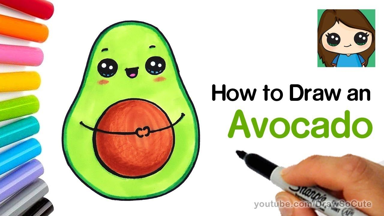 How To Draw An Avocado Cute And Easy With Images Cute Food