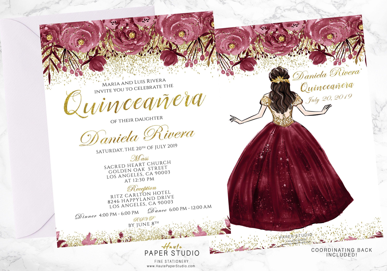 e0e2e42690 Quinceanera Personalized Floral Spanish Invitation Milestone Invite Sweet 16  Princess Invitaciones de 15 años 21st Birthday Invite BDQ001