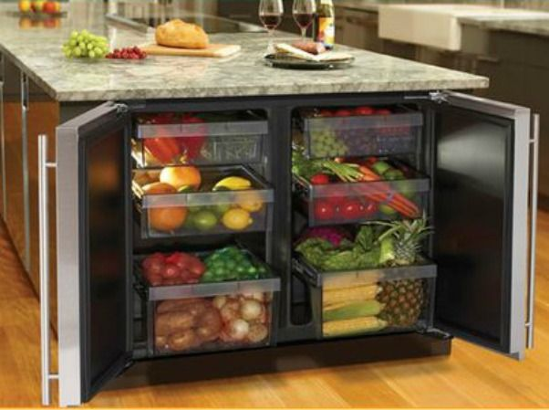 Under Counter Refrigerated Vegetable Drawers At End Of Island Love This Idea Interior Design Kitchen Kitchen Design Kitchen Interior