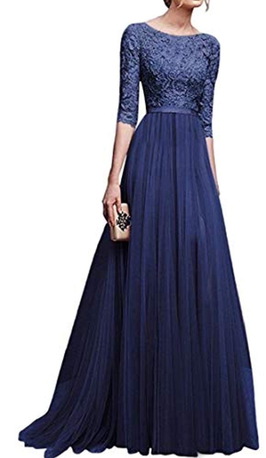 e68c9d43146f8 Womens Vintage Floral Lace 3/4 Sleeves Floor Length Retro Evening Cocktail  Formal Bridesmaid Gown