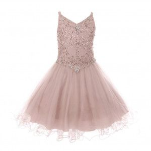 7ed61130e8 Big Girls Dusty Pink Rhinestone Colored Pearl Tulle Junior Bridesmaid Dress  8-16
