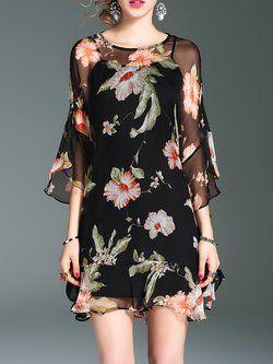 d31622f950d Plus Size Black Floral-print Raglan Sleeve Crew Neck Silk Chiffon Dress