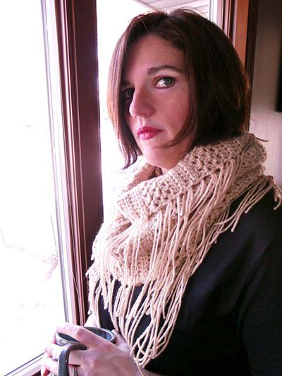 """A super-easy and quick pattern that works up into a trendy and cozy cowl! Includes written instructions only. Size: 8"""" x 60"""", excluding fringe. Made with medium (worsted) weight yarn and size J/10/6mm hook. Skill Level: Beginner"""