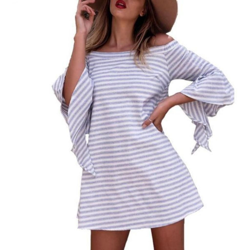 Casual off shoulder striped hollow out women tunic dress products