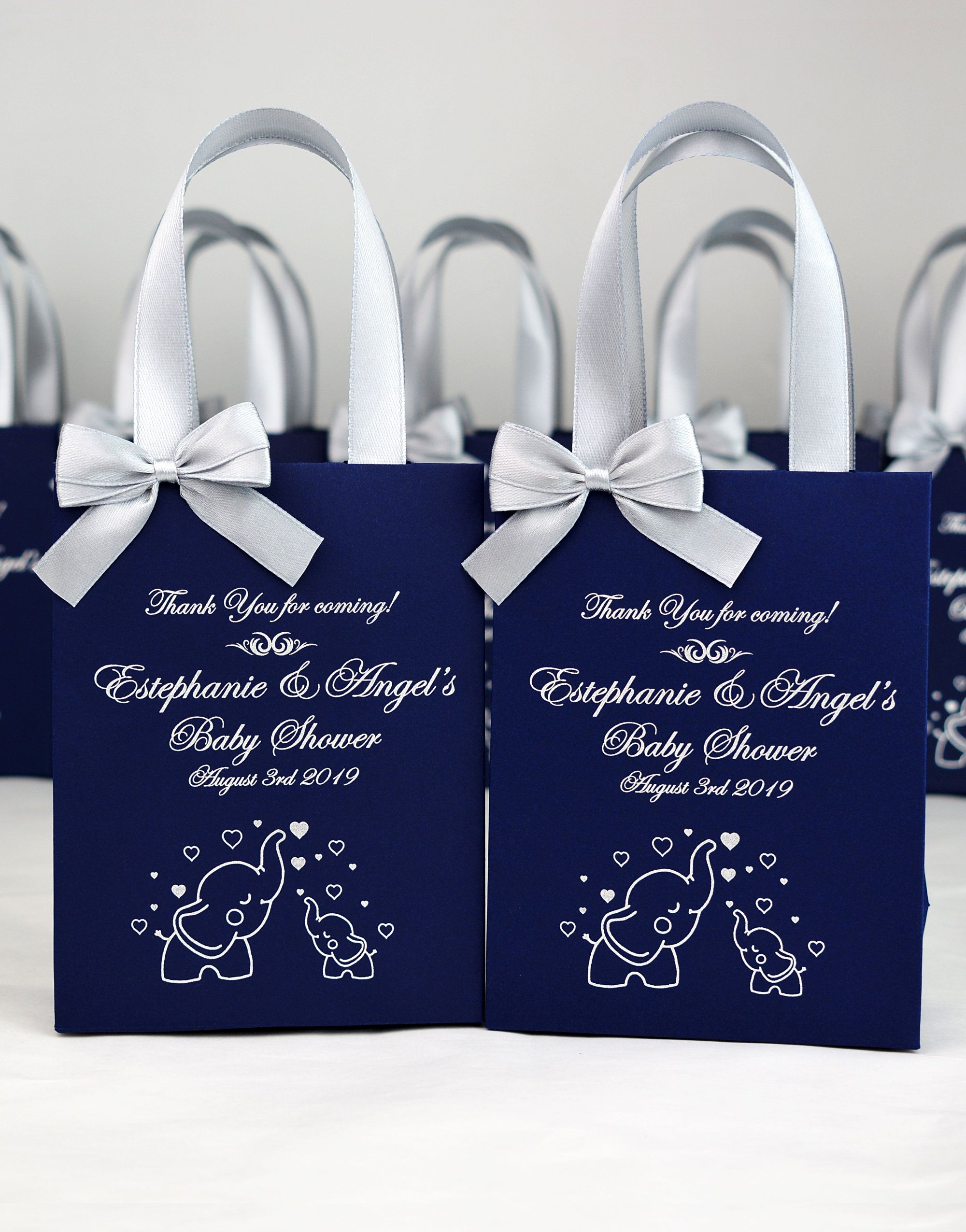 25 elephant baby shower gift bags with satin ribbon
