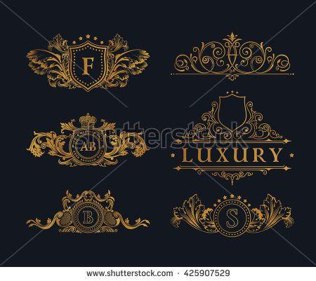 Vintage gold logos crest set Flourishes Calligraphic royal Ornament - best of luxury invitation vector