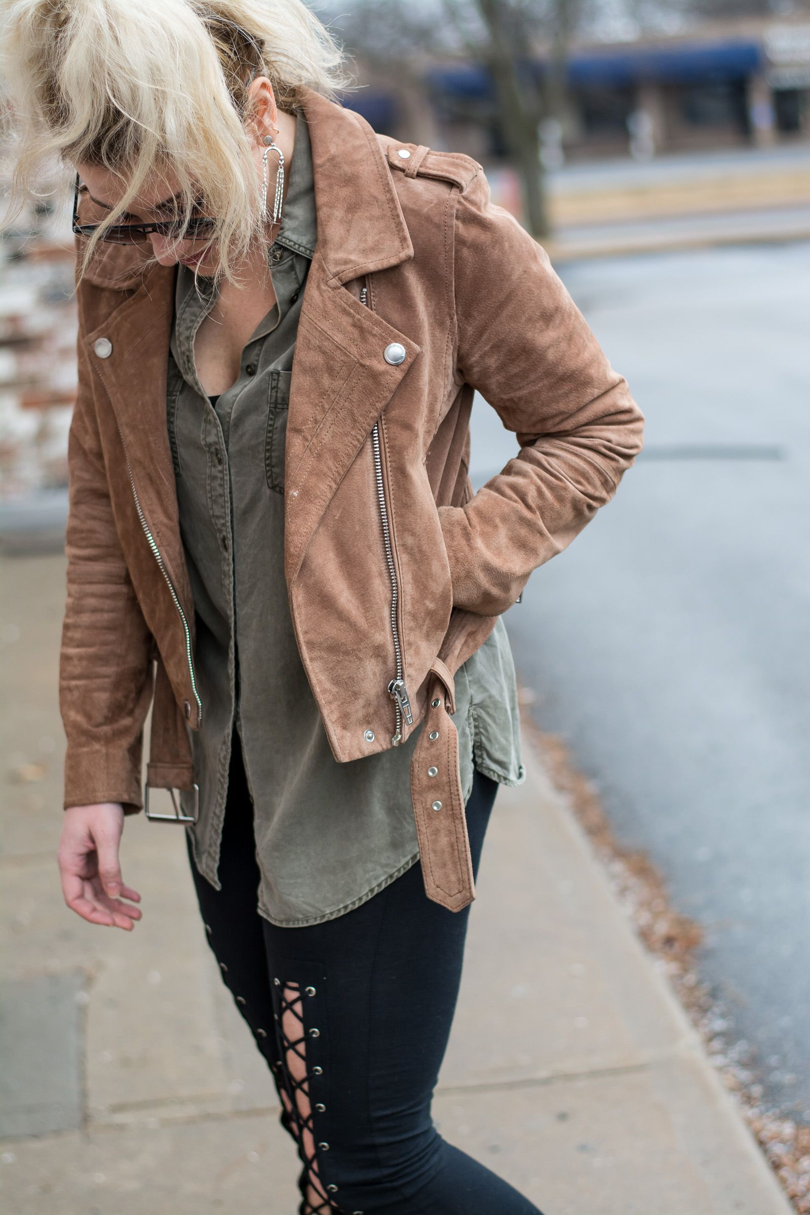 24bfc615f3 Fave Suede Jacket with Lace-up Leggings.