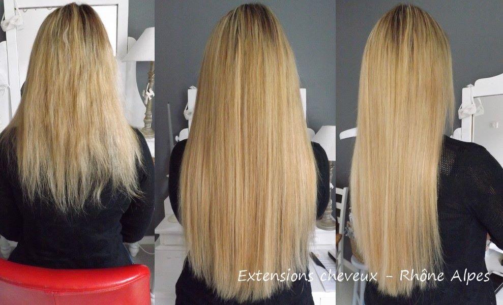 Pose d extension cheveux naturel