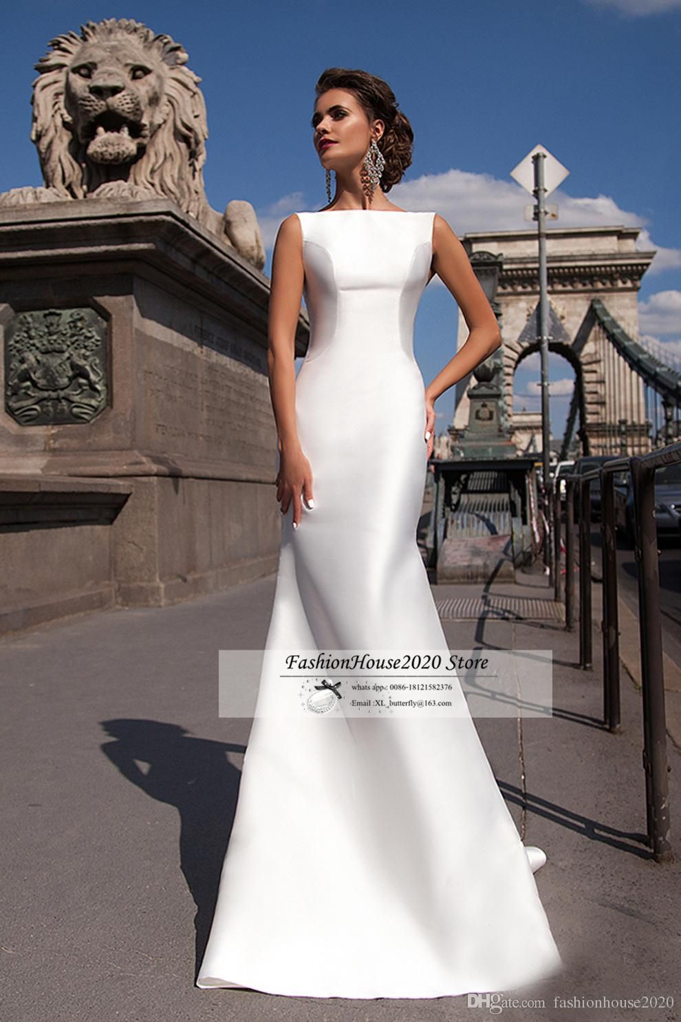 Wedding dress with bow on back  Cheap Simple Satin Mermaid Wedding Dresses  New Boat Neck