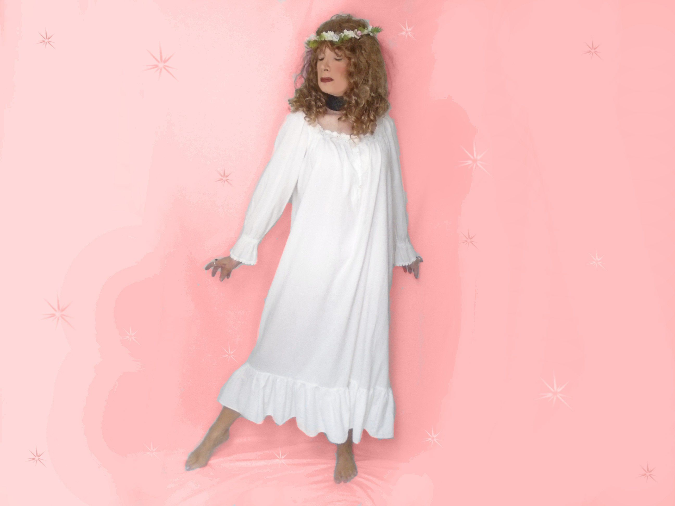 Vintage White Cotton Nightgown, 90s Victorias Secret Dressing Gown ...