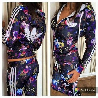 girls flower adidas tracksuit