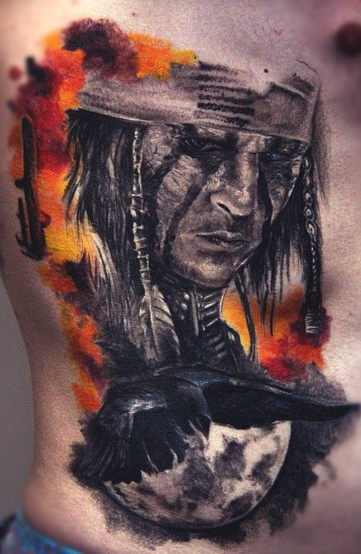 Native American Tattoo By Valentine Paulauskas Native American Tattoos Native American Warrior Tattoos American Tattoos