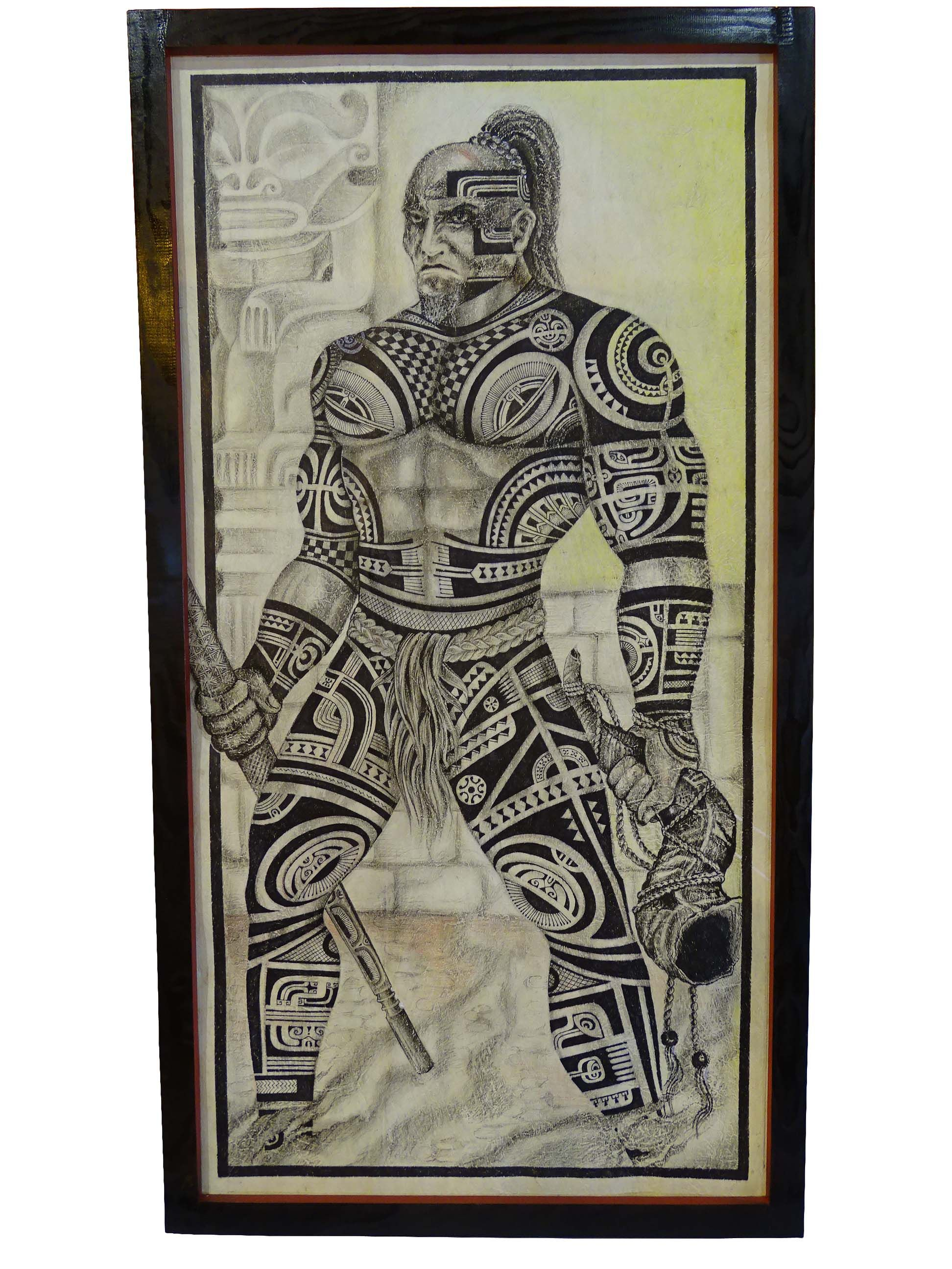 guerrier marquisien tapa en corce de m rier 120 x 60 cm. Black Bedroom Furniture Sets. Home Design Ideas