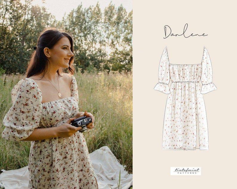 Darlene square neck puff sleeves dress digital pattern pdf