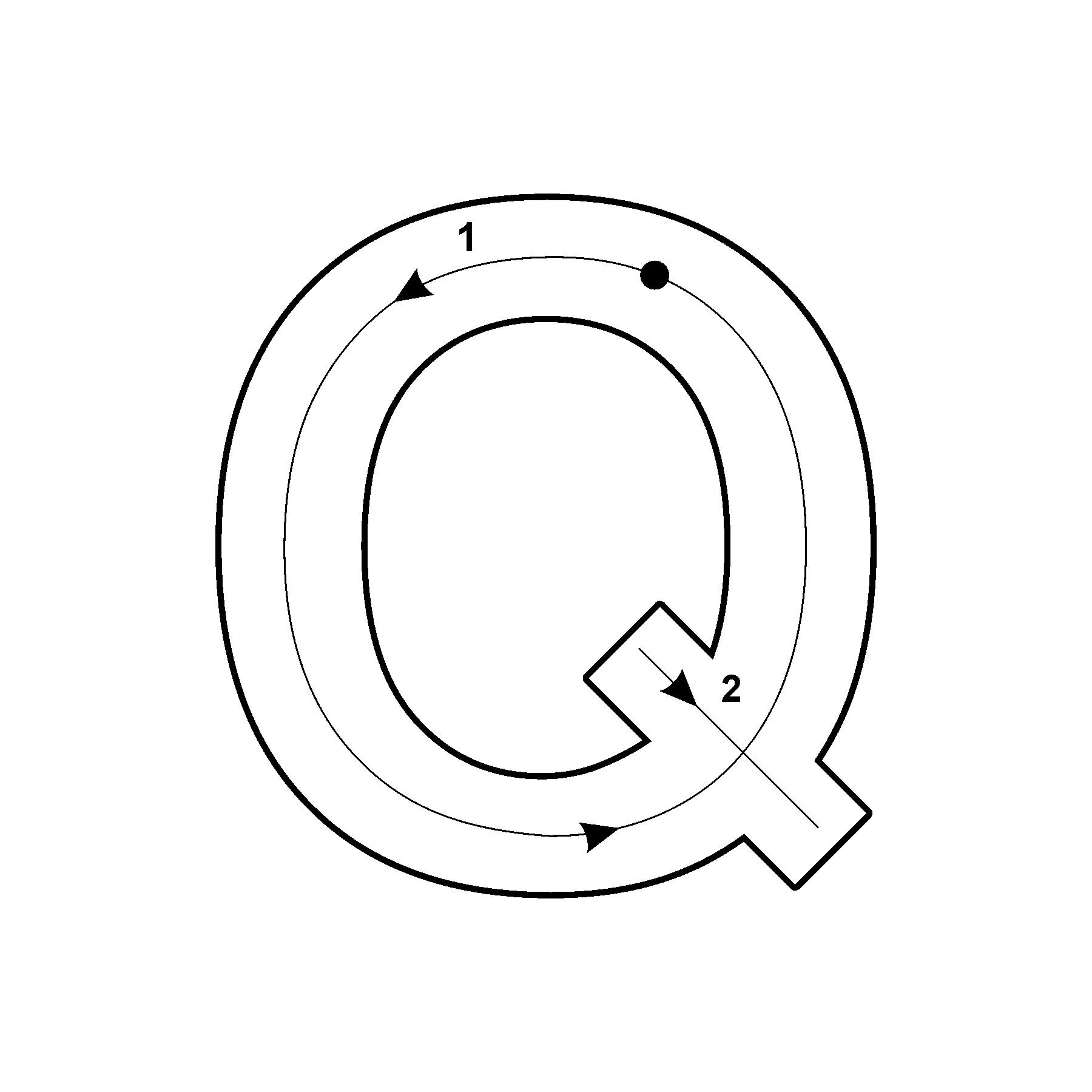 Capital Letter Q with Arrow Lettering, Capital letters