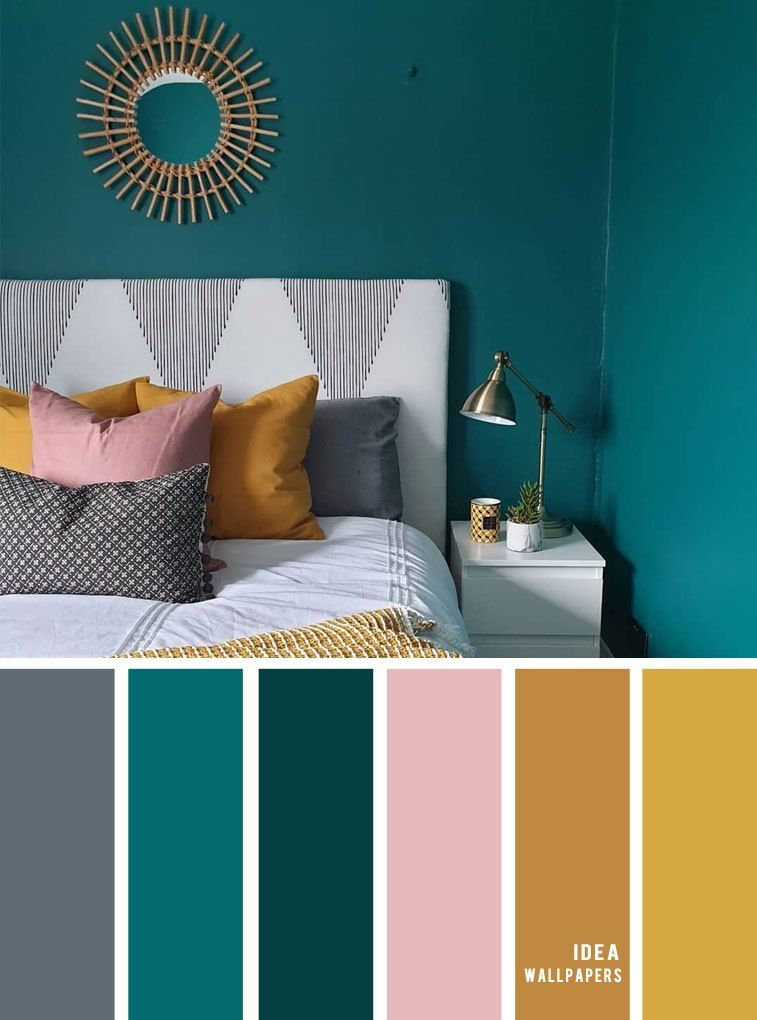 25 Best Color Schemes For Your Bedroom Teal Gold Mustard And Grey Teal Mustard Master Bedroom Colors Bedroom Color Schemes Master Bedroom Color Schemes