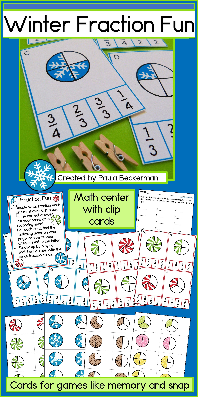 Winter Fraction Task Cards