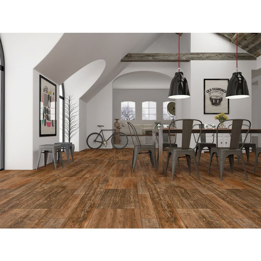 foto de Shop Interceramic 9 Pack Sunwood Cowboy Brown Ceramic Indoor/Outdoor Floor Tile (Common: 7 i