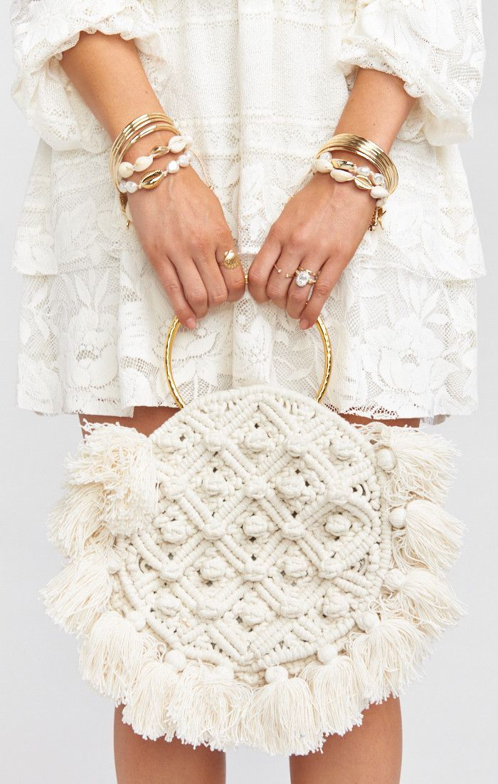Cleobella x Mumu Francesca Crochet Bag ~ White