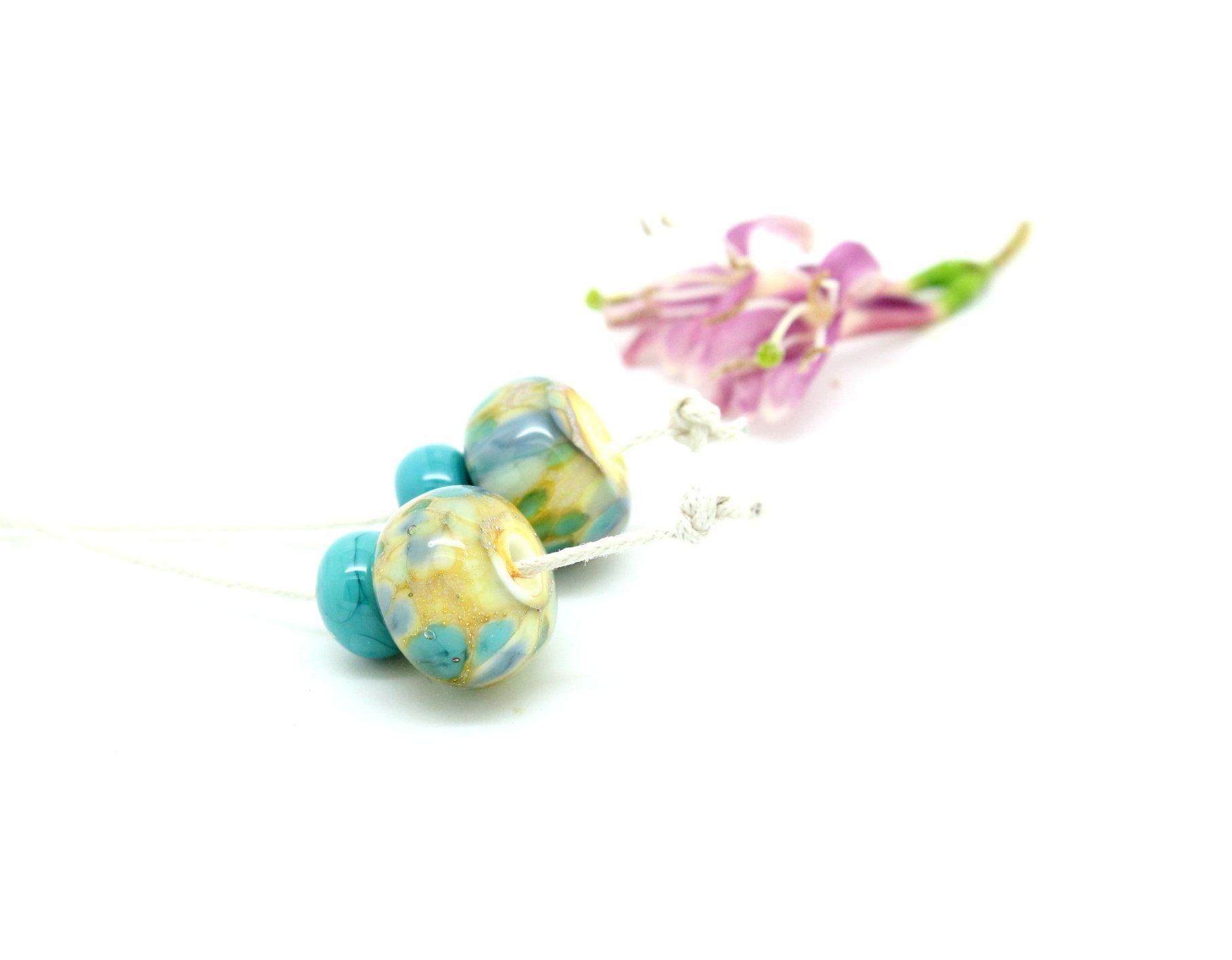 Blue Flower Gardens Lentils SRA Handmade Glass Lampwork Lentil  Beads