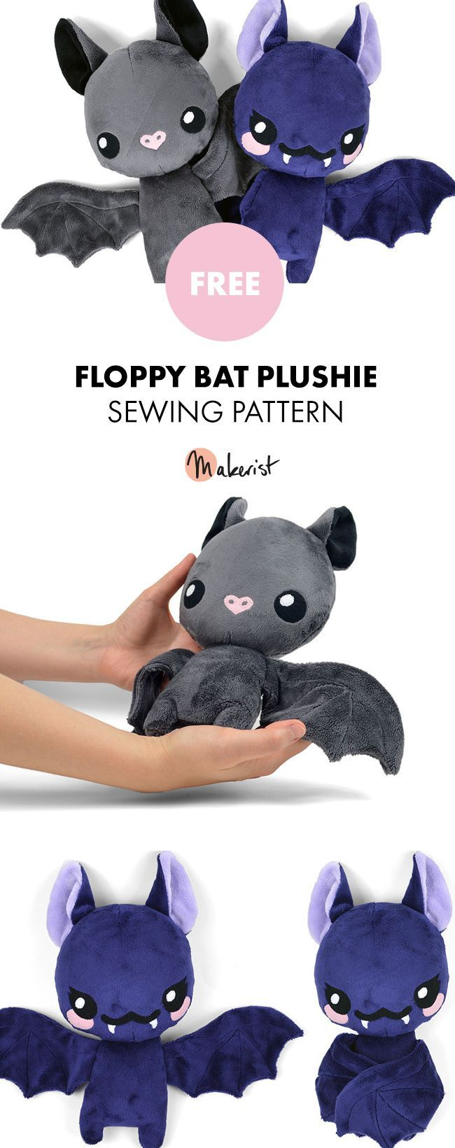 Floppy Bat Stuffed Animal Toy Sewing Pattern #stuffedtoyspatterns