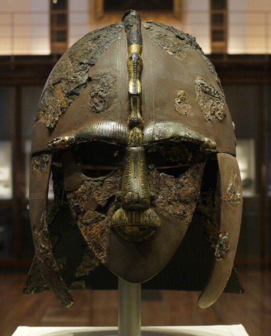 Ceremonial Mask of Autton Hoo found near Woodbridge in Suffolk England..The site of two 6th and early 7th cent cemeteries.One contained a undisturbed ship burial including a wealth of Anglo Saxon artifacts..On display@ British Museum ..By Angel Springfire