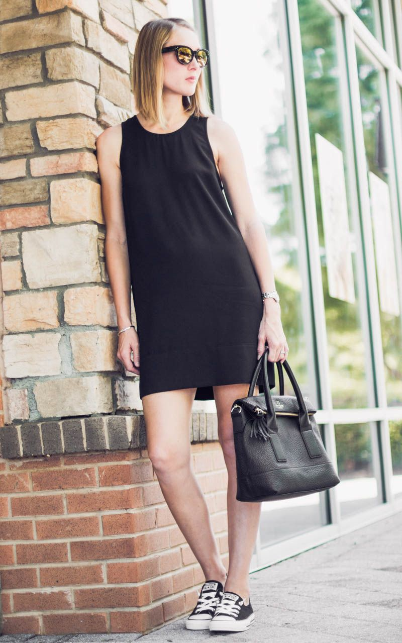1fb32228a27bb minimal, simple styling for the First Trimester of Pregnancy - black tank  dress + converse