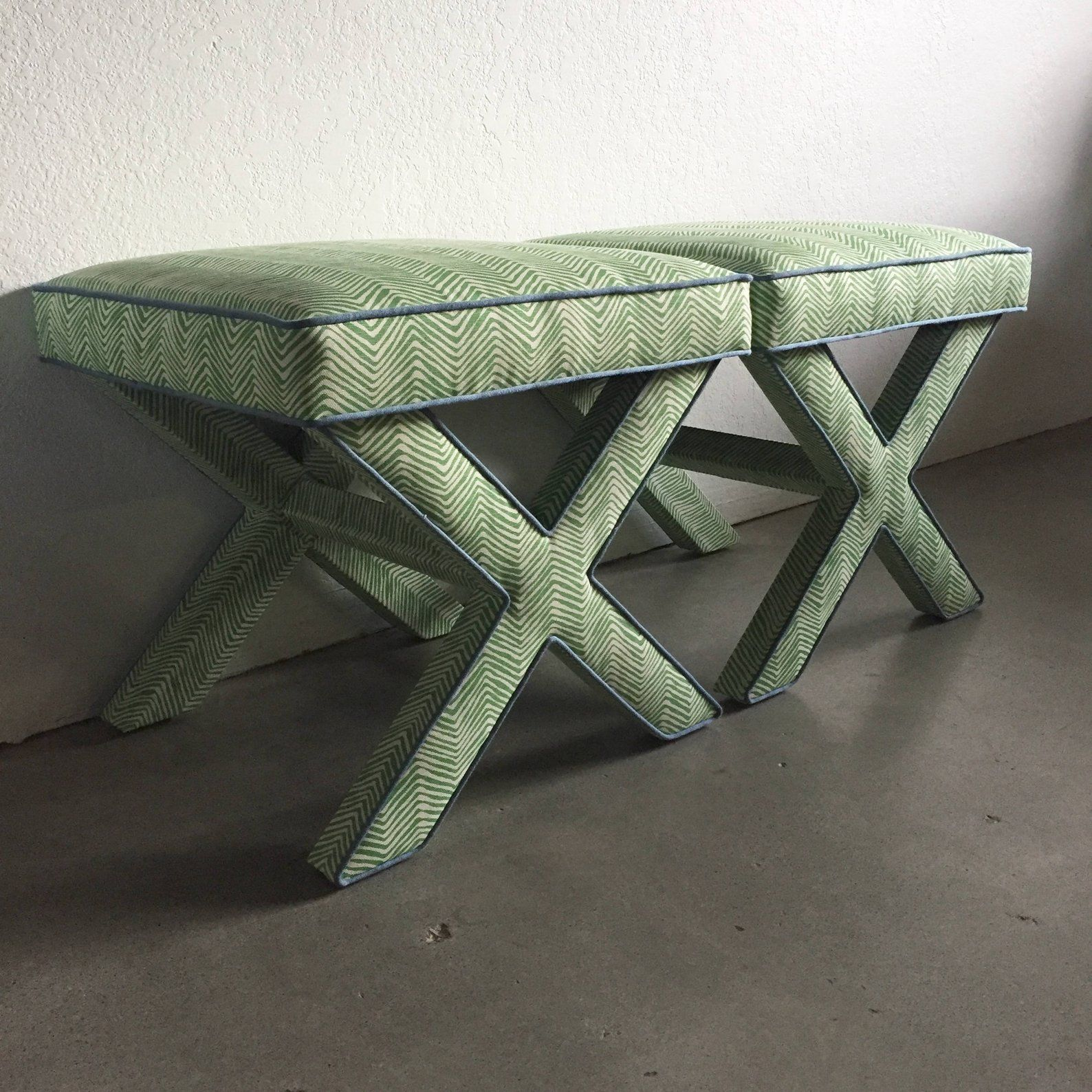 Custom X Benches With Contrast Piping Com X Bench Custom Furniture Beautiful Furniture