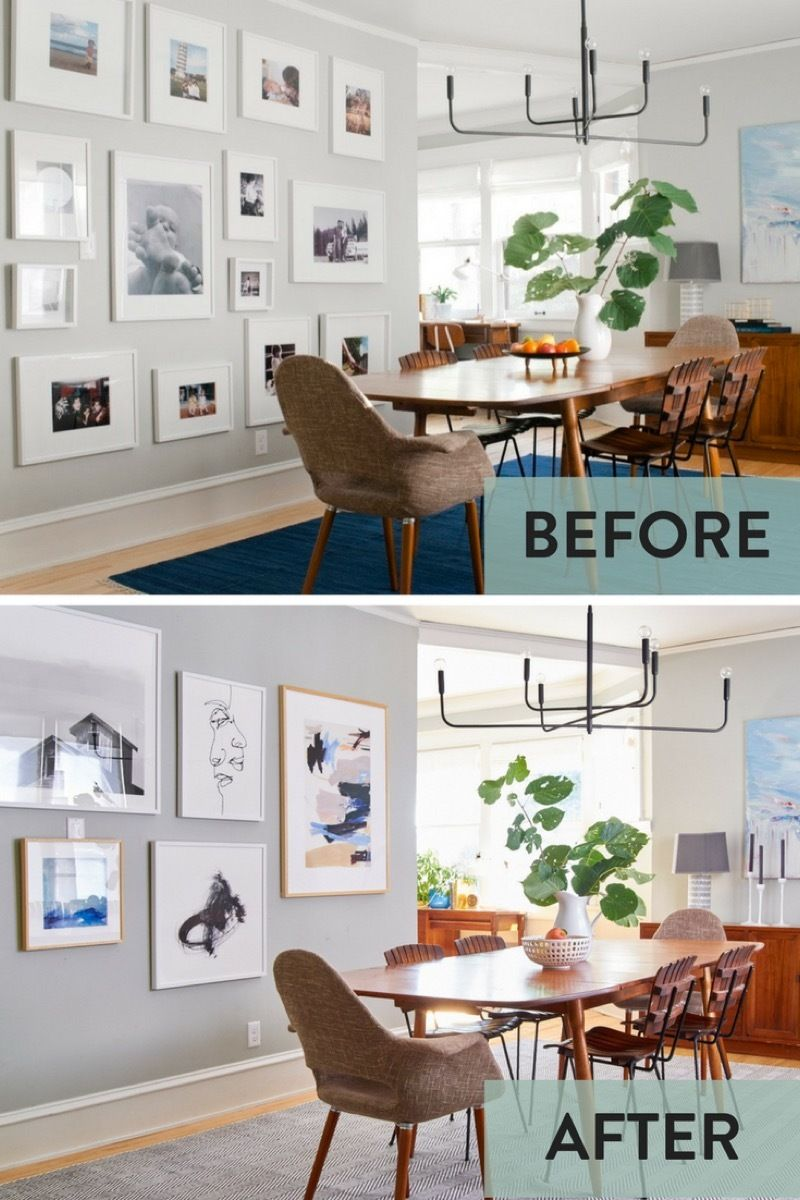 Giving The Curbly House Dining Room A Minted Makeover Dining Room Gallery Wall Bedroom Makeover Before And After Dining Room Art Before after dining room