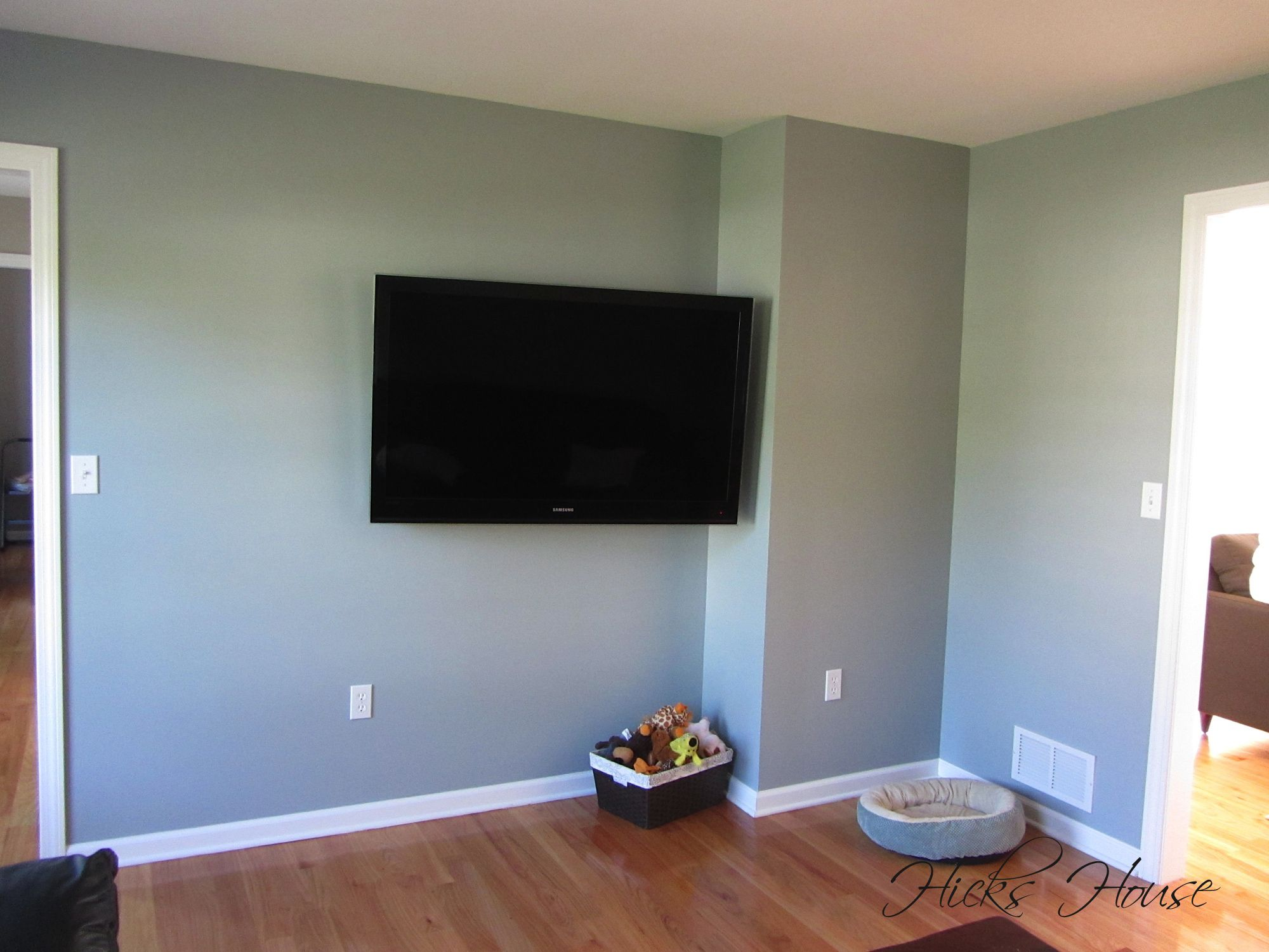 Benjamin Moore Silver Mink In TV Room