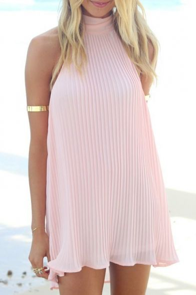 the-fashion-alba:   Pink High Neck Sleeveless... - I'm Gettin My Soul Richer