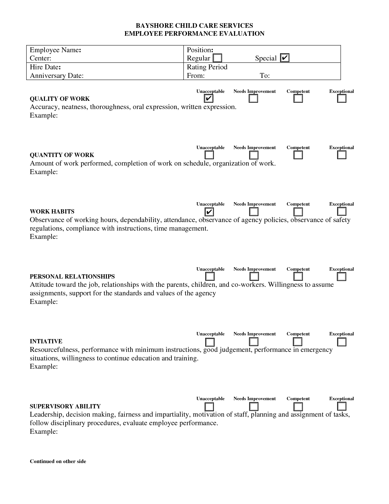 Evaluation Form For Child Care  Google Search  Good  Know
