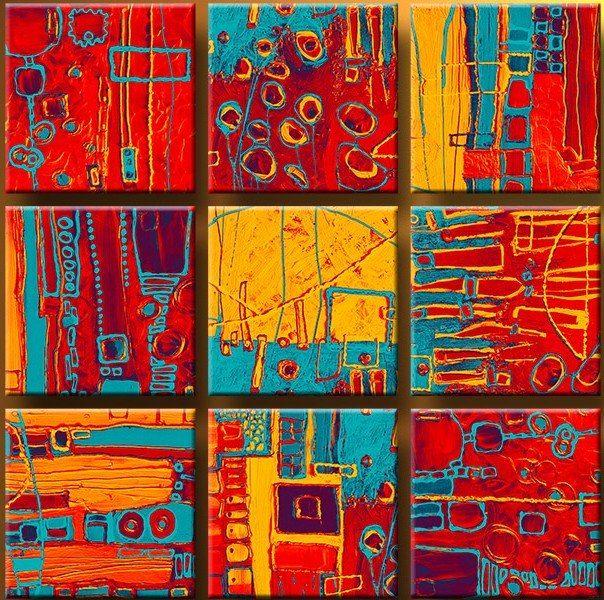 cuadros abstractos florales - arma tu serie ¡ nuevos ! | Bricolaje y ...