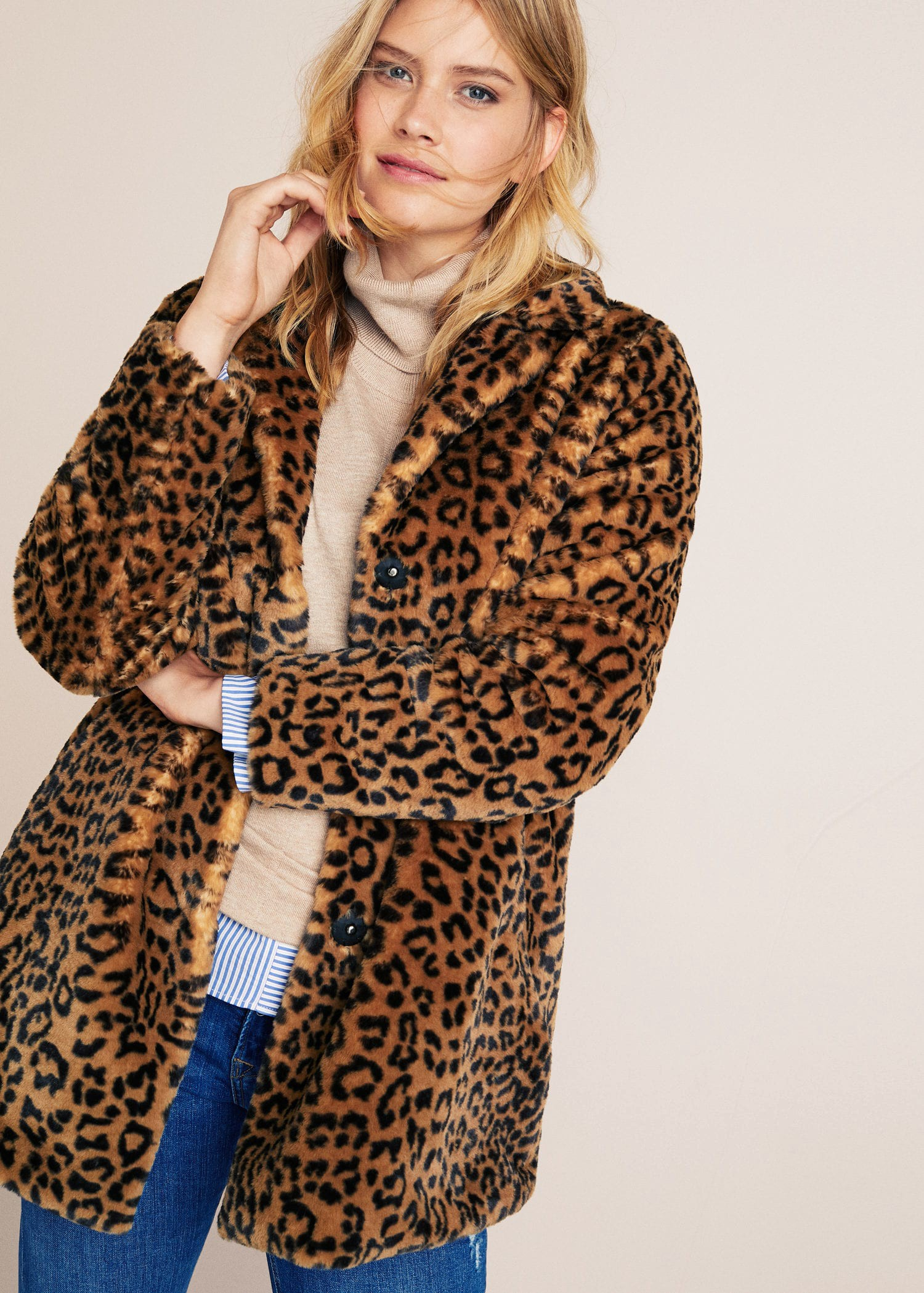 Mango Animal Print Faux Fur Coat M | Winter coats women