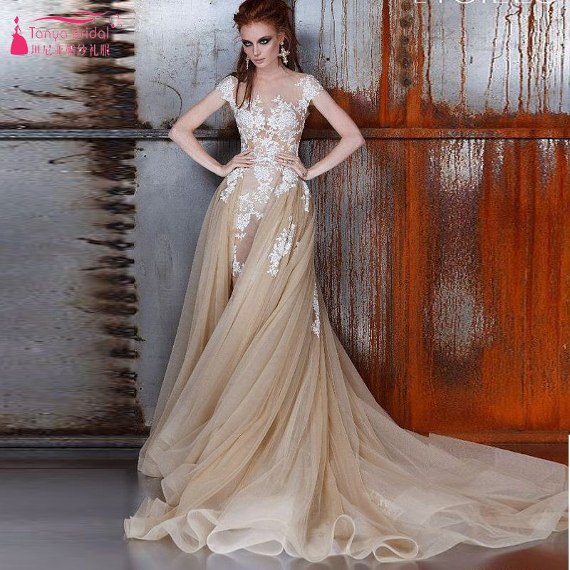 Find More Wedding Dresses Information about Champagne Tulle Wedding dresses Luxury sexy Lace Brides Dresses Arabic Lace dresses with Overskirts   Z436,High Quality dress mint,China dress locks Suppliers, Cheap dress wholesalers from Tanya Bridal Store on Aliexpress.com