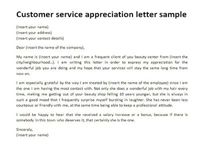 Customer Service Appreciation Letter Thank You Sample Letters
