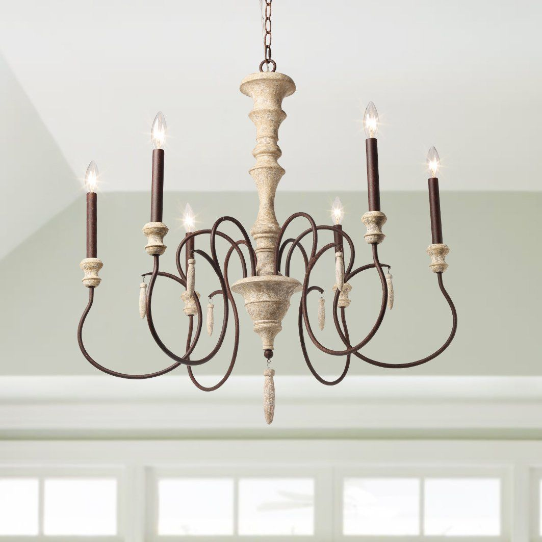 LALUZ 6Light Shabby Chic French Country Wooden Chandelier