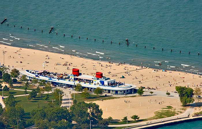 Ride Your Bikes Along The Coast And Check Out Some Of Chicago S Beaches North Avenue Beach Has A Steamship Shaped House With Snack Bar
