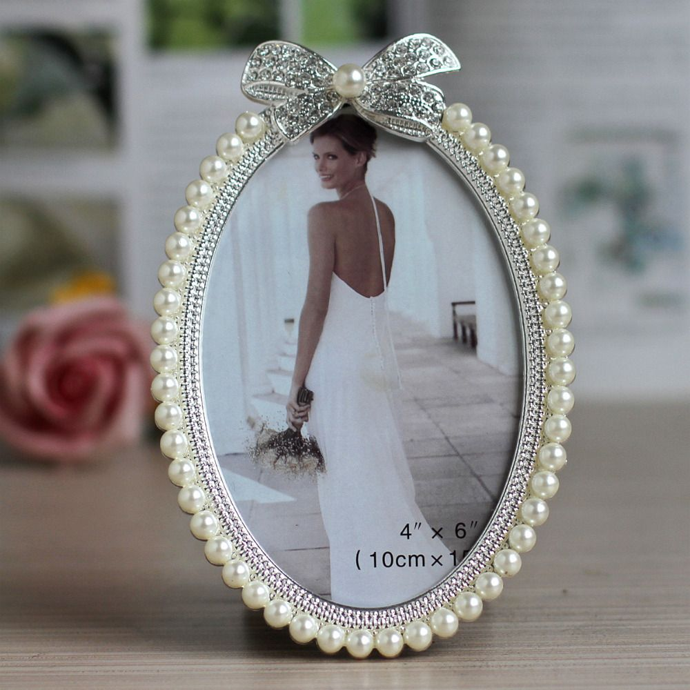 Hot Sale Home Table Deco Item Metal Alloy Wedding Photo Frame Picture Frame With Pearls And Rh Framed Wedding Photos Metal Photo Frames Jeweled Picture Frame